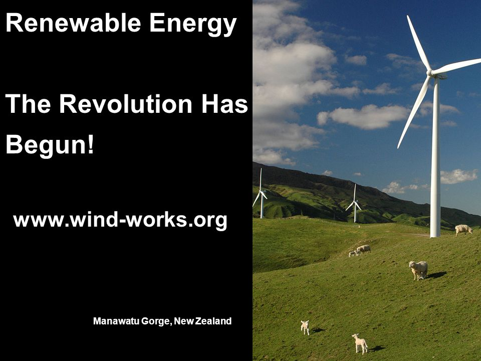 Renewable Energy The Revolution Has Begun! www.wind-works.org Manawatu Gorge, New Zealand