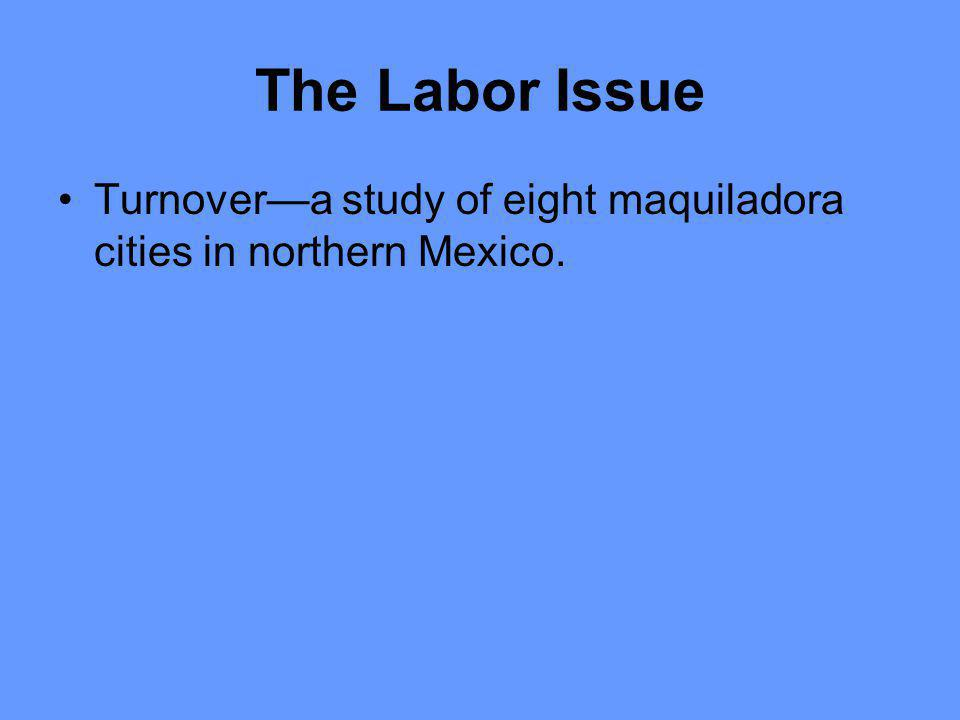The Labor Issue Turnovera study of eight maquiladora cities in northern Mexico.