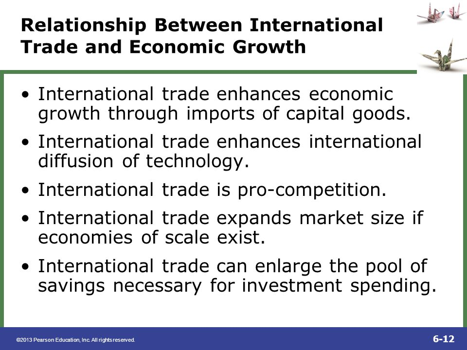 ©2013 Pearson Education, Inc. All rights reserved. 6-12 Relationship Between International Trade and Economic Growth International trade enhances econ