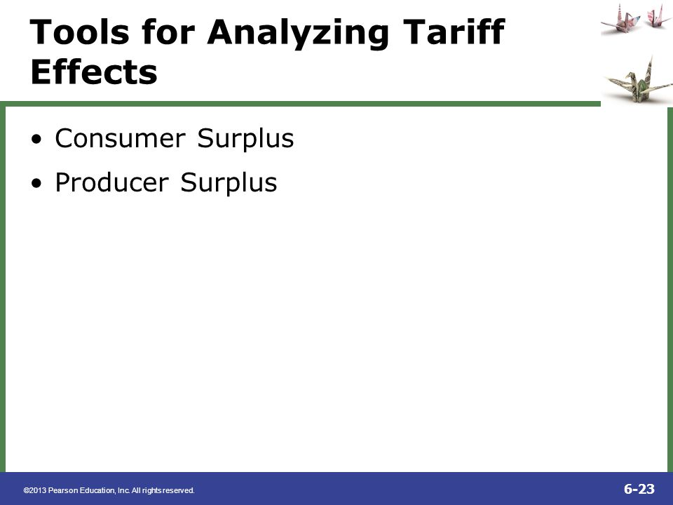 ©2013 Pearson Education, Inc. All rights reserved. 6-23 Tools for Analyzing Tariff Effects Consumer Surplus Producer Surplus