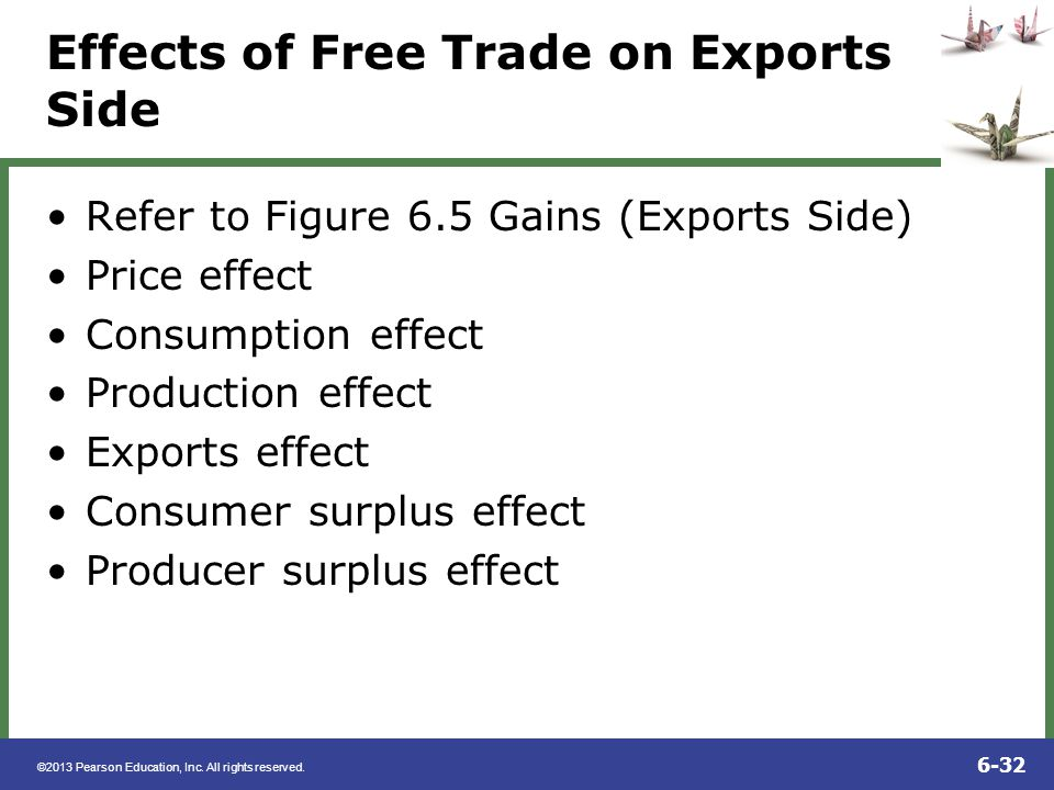 ©2013 Pearson Education, Inc. All rights reserved. 6-32 Effects of Free Trade on Exports Side Refer to Figure 6.5 Gains (Exports Side) Price effect Co