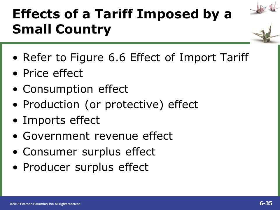 ©2013 Pearson Education, Inc. All rights reserved. 6-35 Effects of a Tariff Imposed by a Small Country Refer to Figure 6.6 Effect of Import Tariff Pri