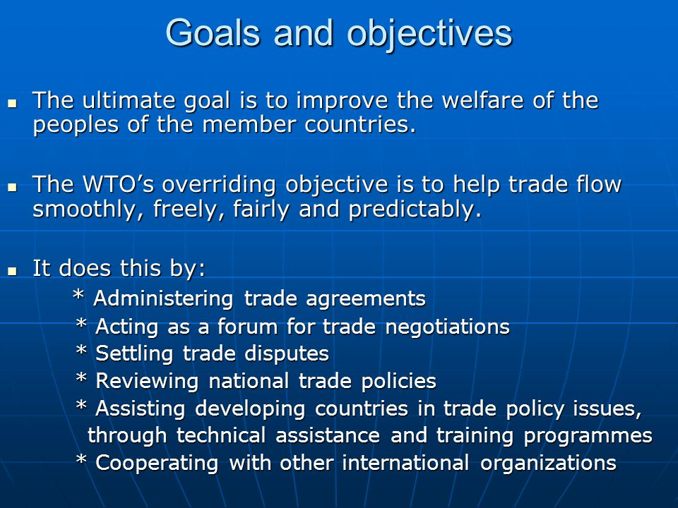 History – from GATT to WTO (1) WTO is the successor to the General Agreement on Tariffs and Trade (GATT) originated in 1947.