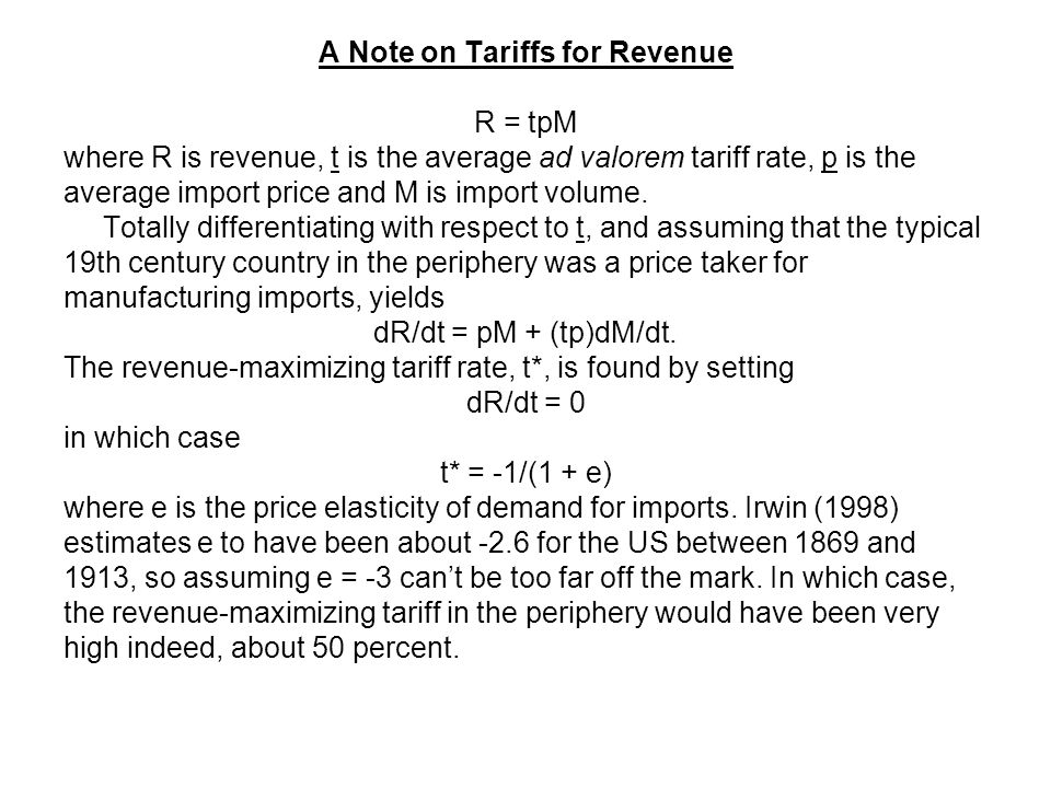 A Note on Tariffs for Revenue R = tpM where R is revenue, t is the average ad valorem tariff rate, p is the average import price and M is import volume.