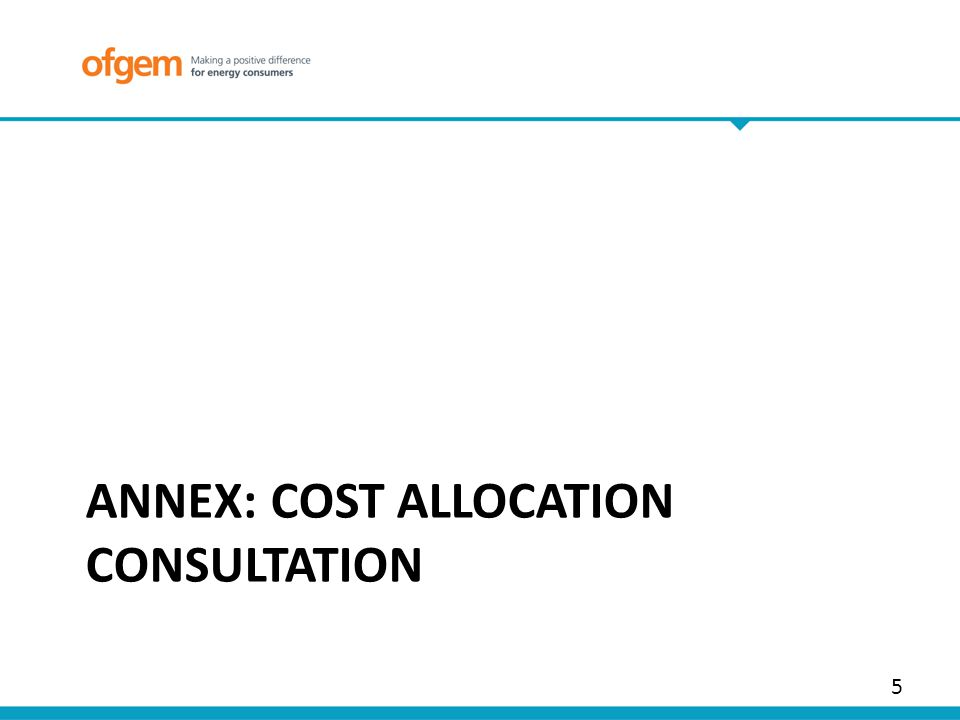ANNEX: COST ALLOCATION CONSULTATION 5