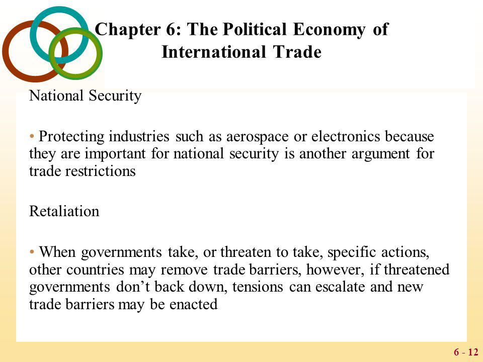 6 - 12 Chapter 6: The Political Economy of International Trade National Security Protecting industries such as aerospace or electronics because they a