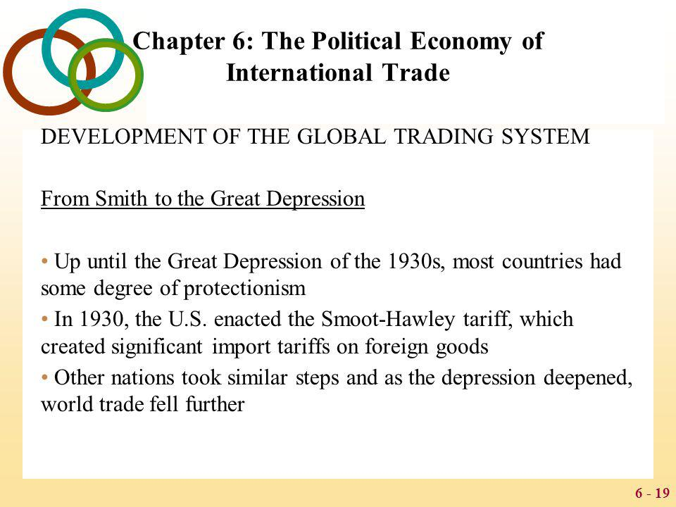 6 - 19 Chapter 6: The Political Economy of International Trade DEVELOPMENT OF THE GLOBAL TRADING SYSTEM From Smith to the Great Depression Up until th