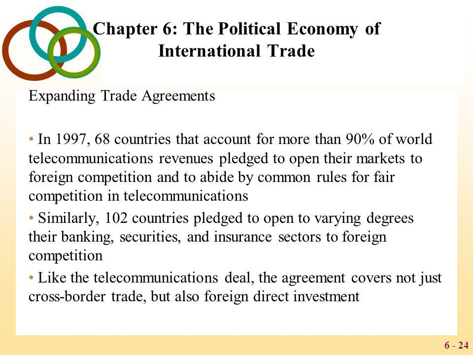 6 - 24 Chapter 6: The Political Economy of International Trade Expanding Trade Agreements In 1997, 68 countries that account for more than 90% of worl