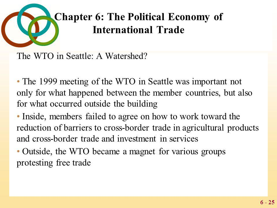 6 - 25 Chapter 6: The Political Economy of International Trade The WTO in Seattle: A Watershed? The 1999 meeting of the WTO in Seattle was important n