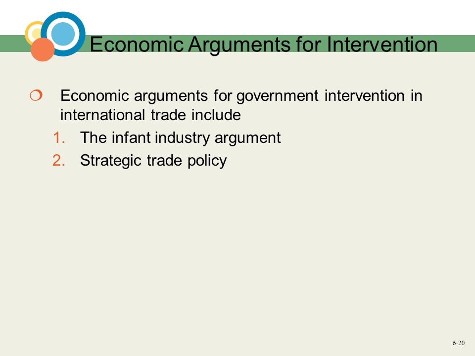6-20 Economic Arguments for Intervention Economic arguments for government intervention in international trade include 1.The infant industry argument 2.Strategic trade policy