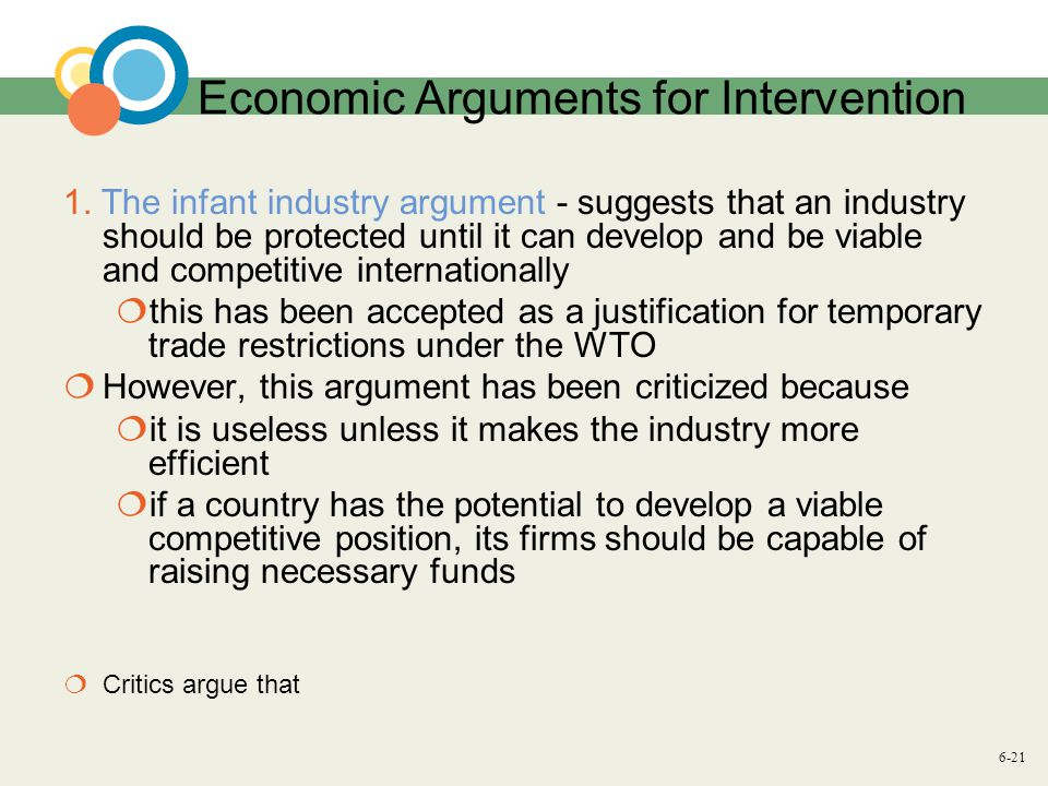6-21 Economic Arguments for Intervention 1.