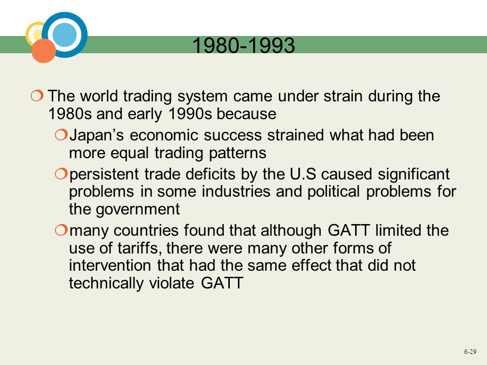 6-29 1980-1993 The world trading system came under strain during the 1980s and early 1990s because Japans economic success strained what had been more equal trading patterns persistent trade deficits by the U.S caused significant problems in some industries and political problems for the government many countries found that although GATT limited the use of tariffs, there were many other forms of intervention that had the same effect that did not technically violate GATT