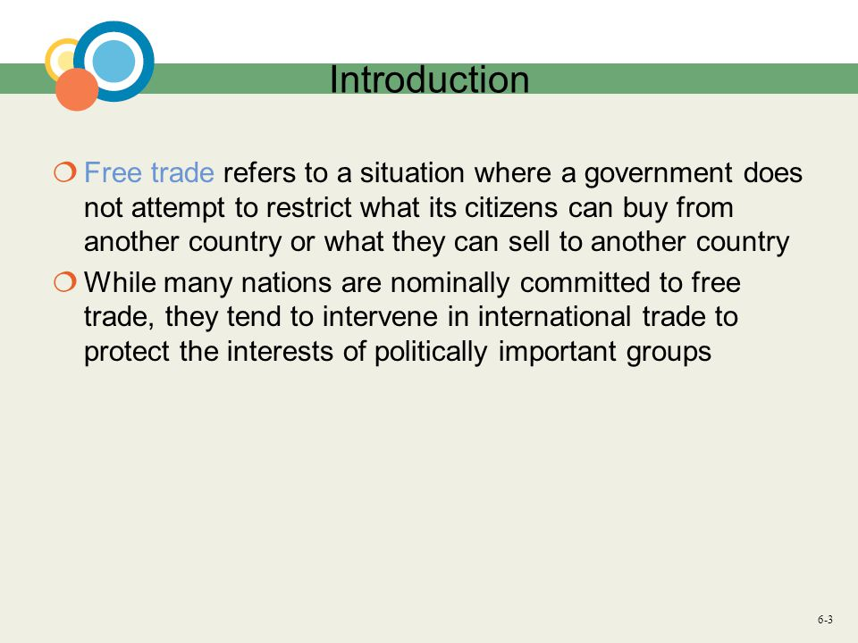 6-34 Implications for Managers Question: Why should international managers care about the political economy of free trade or about the relative merits of arguments for free trade and protectionism.