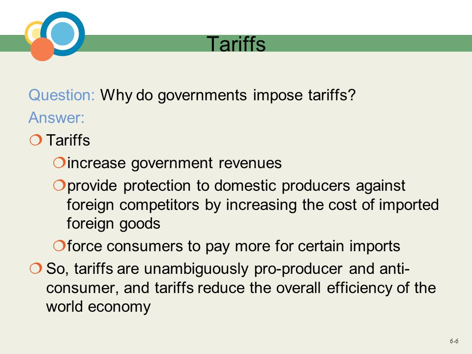 6-6 Tariffs Question: Why do governments impose tariffs.