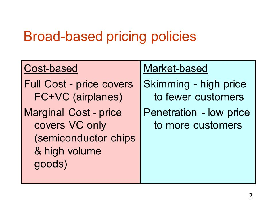 2 Broad-based pricing policies Cost-based Full Cost - price covers FC+VC (airplanes) Marginal Cost - price covers VC only (semiconductor chips & high volume goods) Market-based Skimming - high price to fewer customers Penetration - low price to more customers