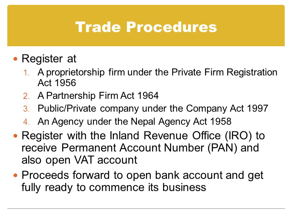 Trade Procedures Register at 1.