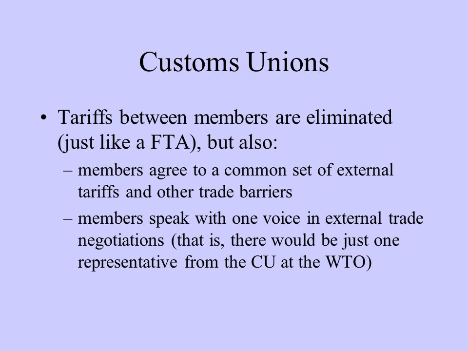 Customs Unions: Examples UDEAC (Cameroon, CAR, Chad, Congo, Equatorial Guinea and Gabon) Andean Pact (Bolivia, Colombia, Ecuador and Venezuela) MERCOSUR (Argentina, Brazil, Paraguay, and Uruguay)