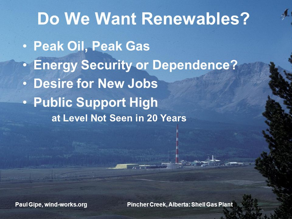 Do We Want Renewables. Peak Oil, Peak Gas Energy Security or Dependence.