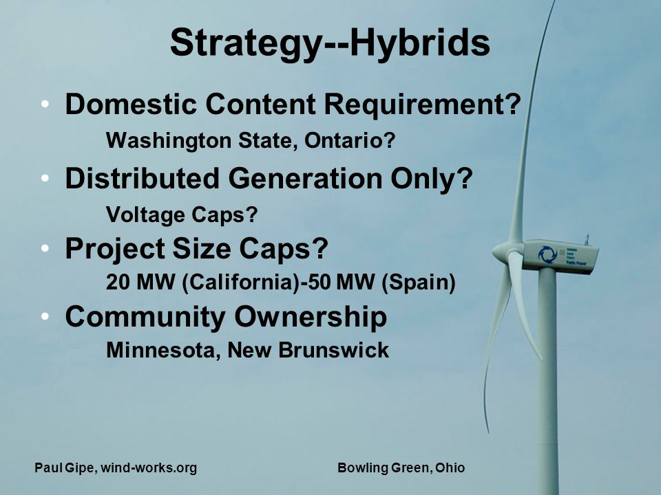 Bowling Green, Ohio Strategy--Hybrids Domestic Content Requirement.
