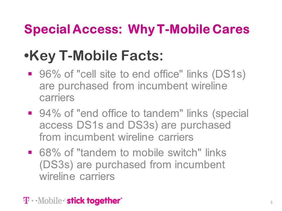 5 Special Access: Why T-Mobile Cares Key T-Mobile Facts: 96% of cell site to end office links (DS1s) are purchased from incumbent wireline carriers 94% of end office to tandem links (special access DS1s and DS3s) are purchased from incumbent wireline carriers 68% of tandem to mobile switch links (DS3s) are purchased from incumbent wireline carriers