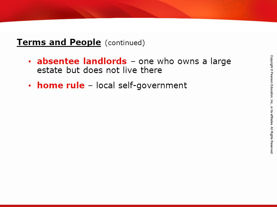 TEKS 8C: Calculate percent composition and empirical and molecular formulas. absentee landlords – one who owns a large estate but does not live there
