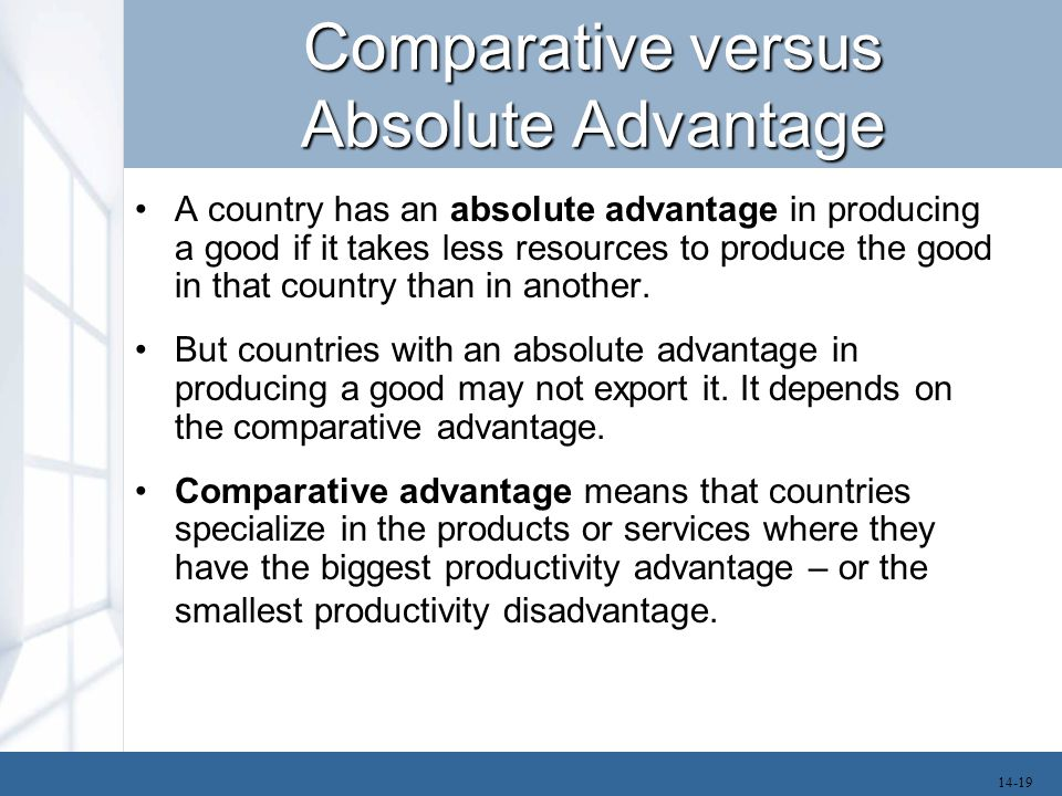 Comparative versus Absolute Advantage A country has an absolute advantage in producing a good if it takes less resources to produce the good in that country than in another.