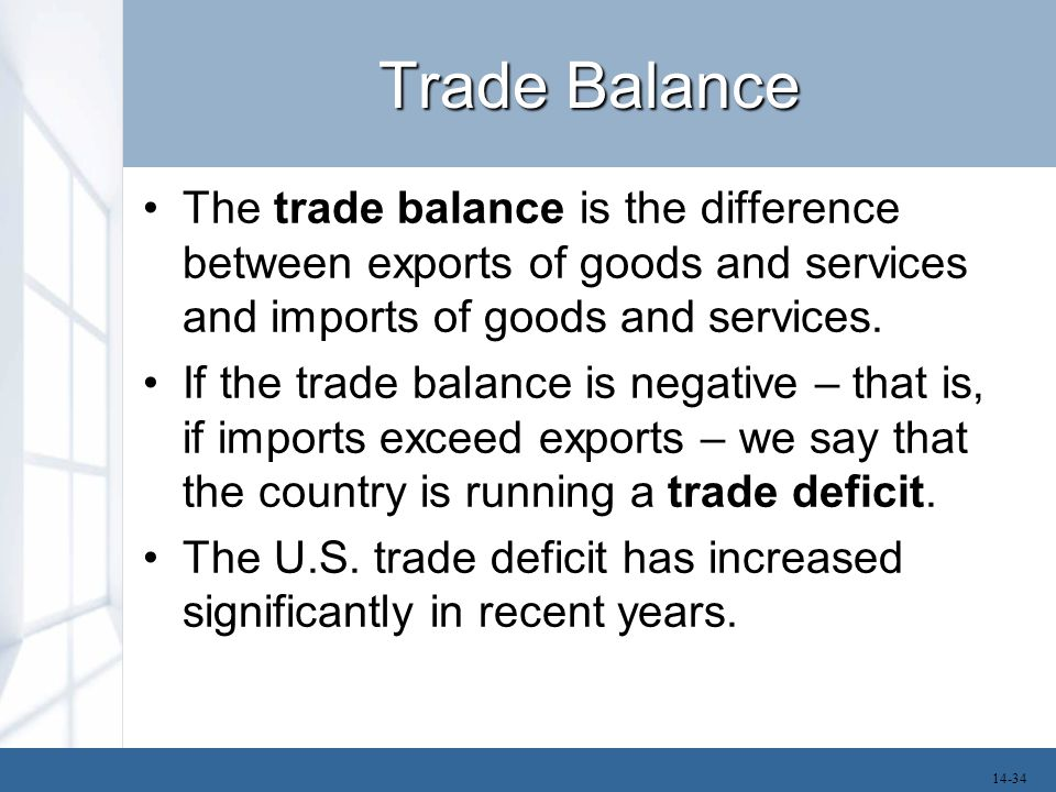 Trade Balance The trade balance is the difference between exports of goods and services and imports of goods and services. If the trade balance is neg