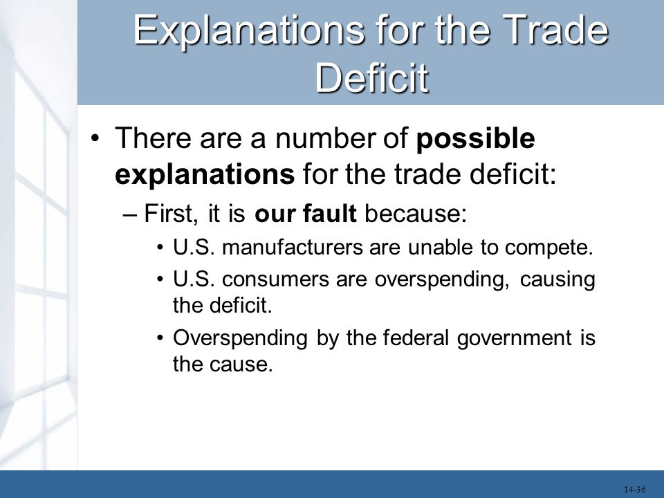 Explanations for the Trade Deficit There are a number of possible explanations for the trade deficit: –First, it is our fault because: U.S. manufactur
