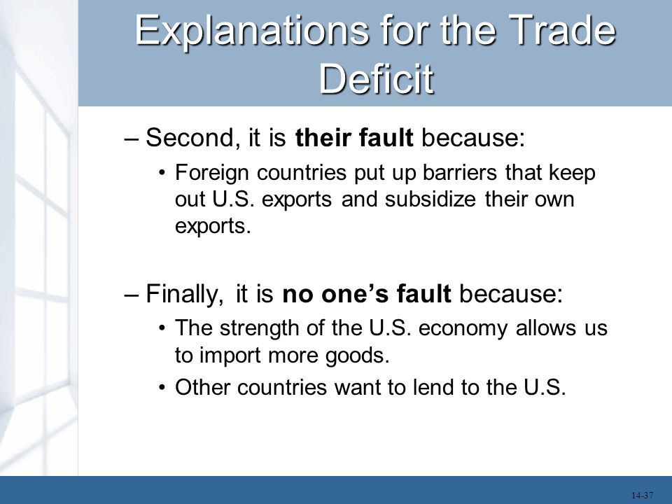 Explanations for the Trade Deficit –Second, it is their fault because: Foreign countries put up barriers that keep out U.S. exports and subsidize thei