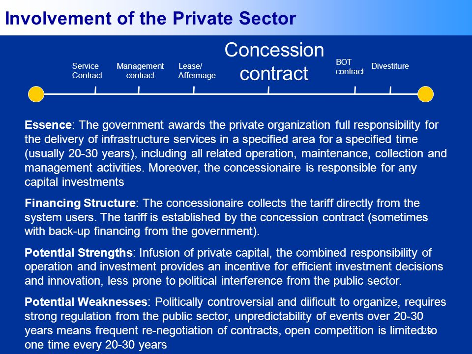 29 Essence: The government awards the private organization full responsibility for the delivery of infrastructure services in a specified area for a specified time (usually 20-30 years), including all related operation, maintenance, collection and management activities.