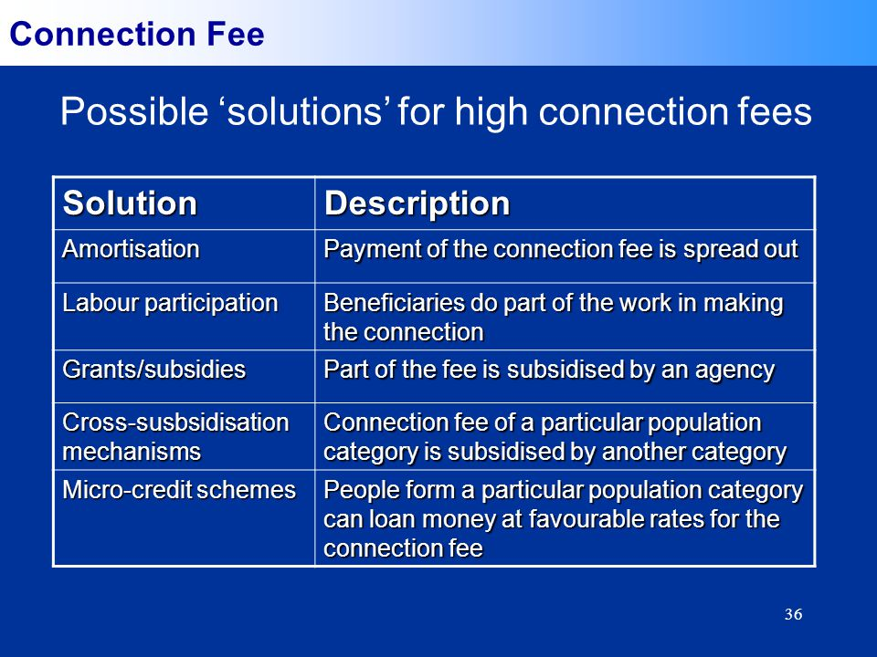 36 Connection Fee Possible solutions for high connection feesSolutionDescriptionAmortisation Payment of the connection fee is spread out Labour participation Beneficiaries do part of the work in making the connection Grants/subsidies Part of the fee is subsidised by an agency Cross-susbsidisation mechanisms Connection fee of a particular population category is subsidised by another category Micro-credit schemes People form a particular population category can loan money at favourable rates for the connection fee