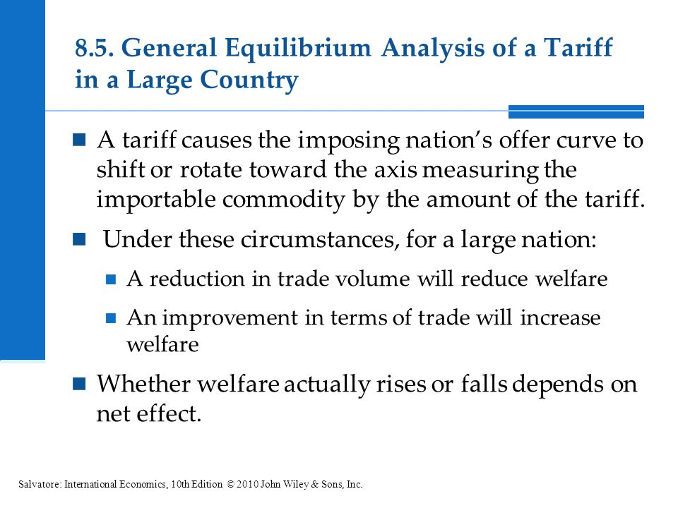 8.5. General Equilibrium Analysis of a Tariff in a Large Country A tariff causes the imposing nations offer curve to shift or rotate toward the axis m