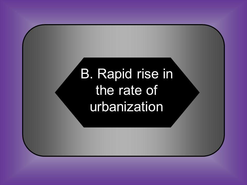 A:B: Money raised from protective tariffs Rapid rise in the rate of urbanization C:D: Increased population in rural areas Creation of suburban neighborhoods #20 A primary reason for growth of industrialization in the North