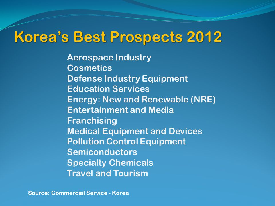 Koreas Best Prospects 2012 Aerospace Industry Cosmetics Defense Industry Equipment Education Services Energy: New and Renewable (NRE) Entertainment an
