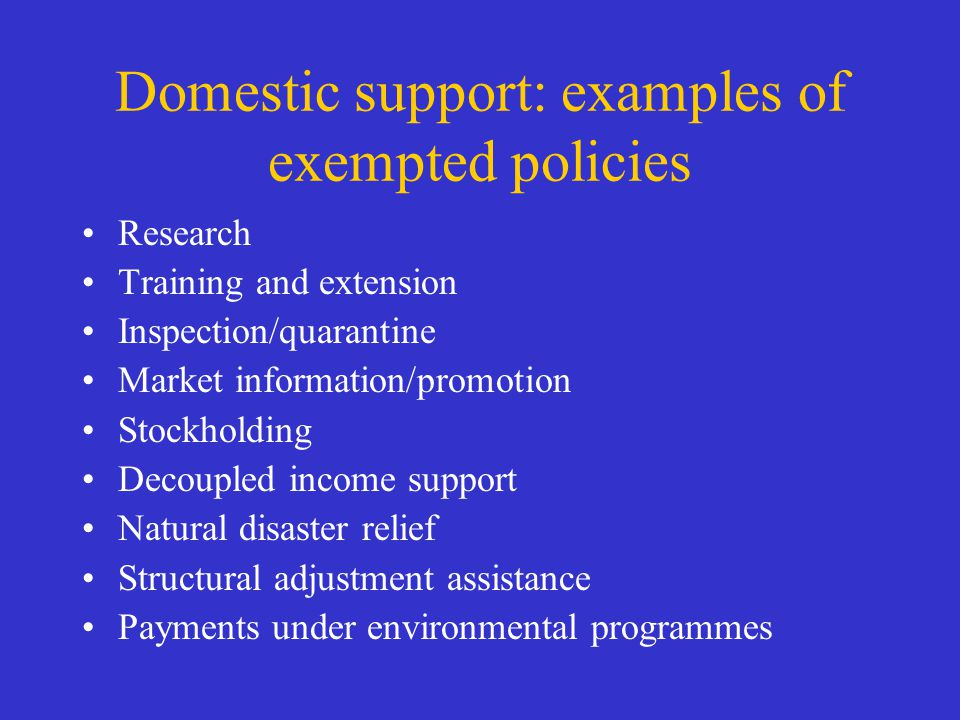 Domestic support: examples of exempted policies Research Training and extension Inspection/quarantine Market information/promotion Stockholding Decoup