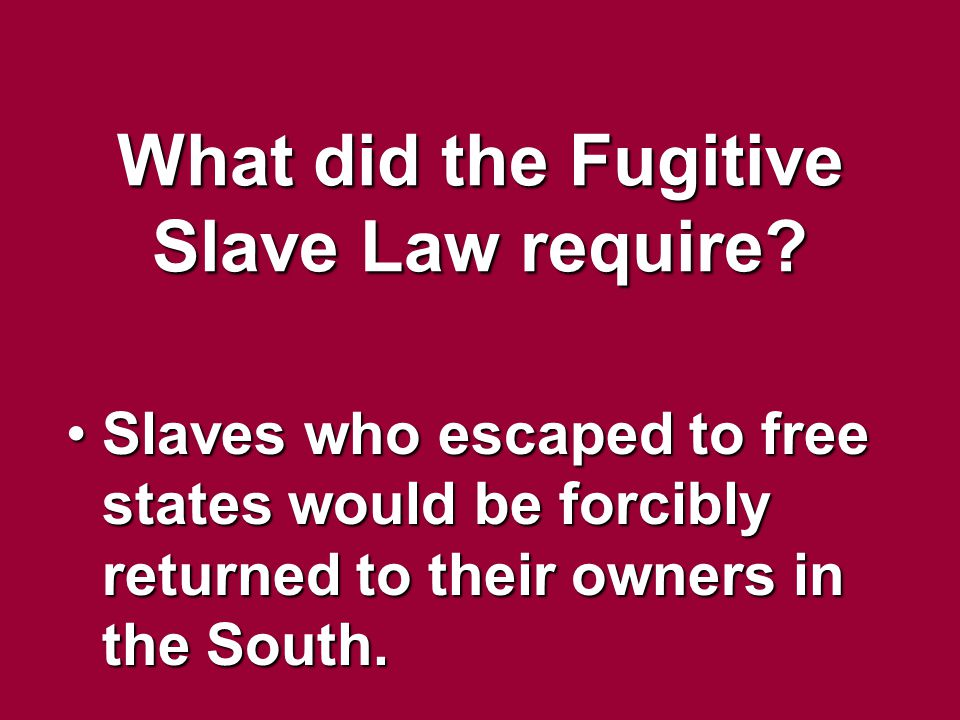 What did the Fugitive Slave Law require? Slaves who escaped to free states would be forcibly returned to their owners in the South.Slaves who escaped