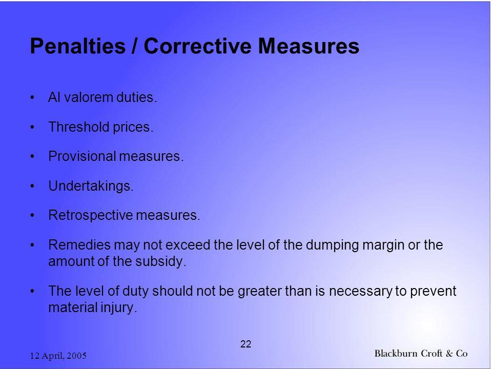 12 April, 2005 22 Penalties / Corrective Measures Al valorem duties.