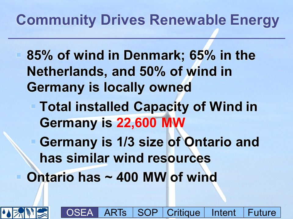Community Drives Renewable Energy 85% of wind in Denmark; 65% in the Netherlands, and 50% of wind in Germany is locally owned Total installed Capacity of Wind in Germany is 22,600 MW Germany is 1/3 size of Ontario and has similar wind resources Ontario has ~ 400 MW of wind 85% of wind in Denmark; 65% in the Netherlands, and 50% of wind in Germany is locally owned Total installed Capacity of Wind in Germany is 22,600 MW Germany is 1/3 size of Ontario and has similar wind resources Ontario has ~ 400 MW of wind OSEAARTsSOPCritiqueIntentFuture