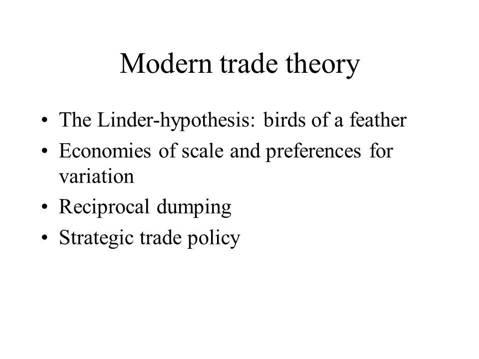 Modern trade theory The Linder-hypothesis: birds of a feather Economies of scale and preferences for variation Reciprocal dumping Strategic trade policy