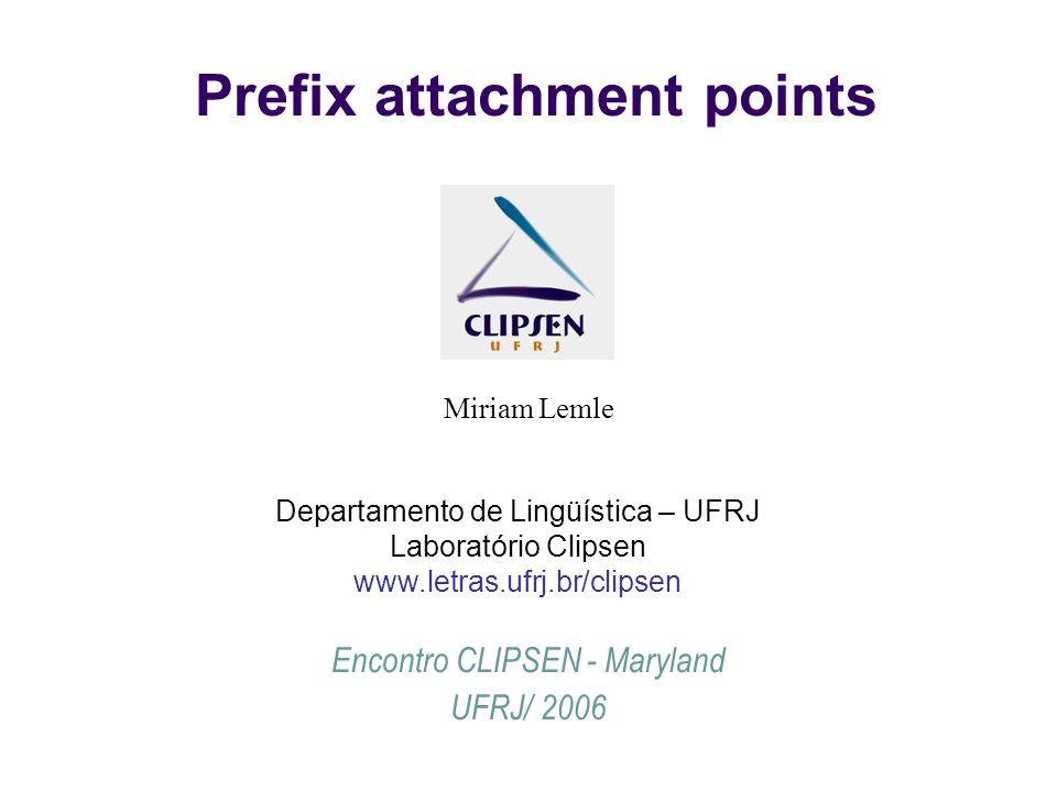 Prefix attachment points Miriam Lemle Encontro CLIPSEN - Maryland UFRJ/ 2006 Departamento de Lingüística – UFRJ Laboratório Clipsen www.letras.ufrj.br/clipsen