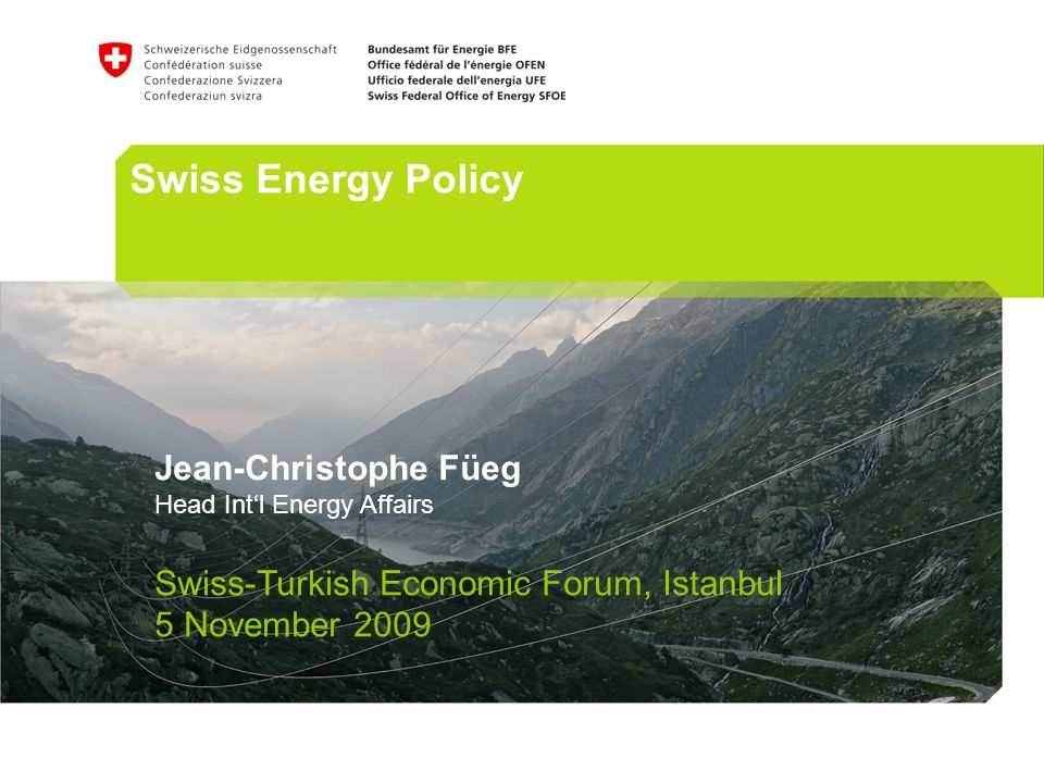 Swiss Energy Policy Jean-Christophe Füeg Head Intl Energy Affairs Swiss-Turkish Economic Forum, Istanbul 5 November 2009
