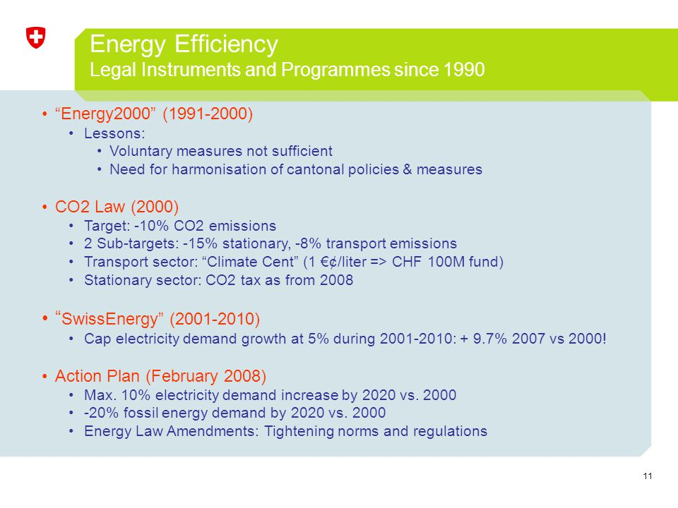 11 Energy Efficiency Legal Instruments and Programmes since 1990 Energy2000 (1991-2000) Lessons: Voluntary measures not sufficient Need for harmonisat