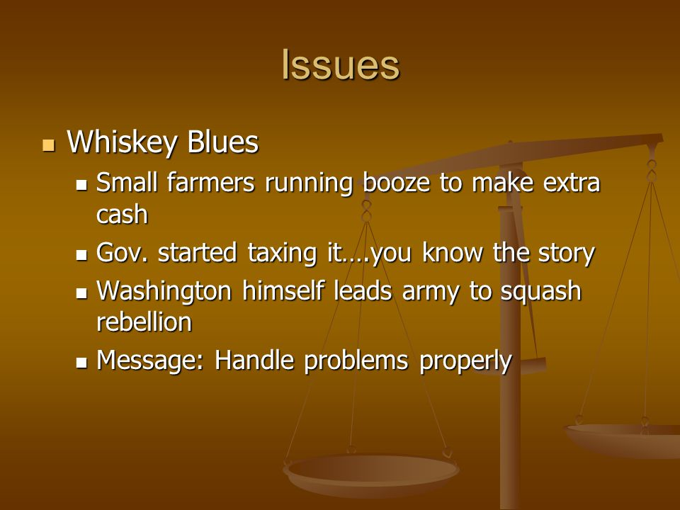 Issues Whiskey Blues Whiskey Blues Small farmers running booze to make extra cash Small farmers running booze to make extra cash Gov. started taxing i