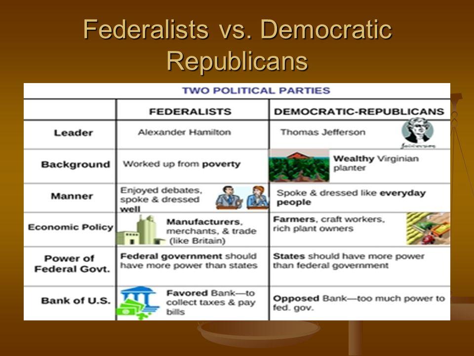 Federalists vs. Democratic Republicans
