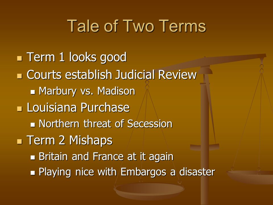 Tale of Two Terms Term 1 looks good Term 1 looks good Courts establish Judicial Review Courts establish Judicial Review Marbury vs. Madison Marbury vs