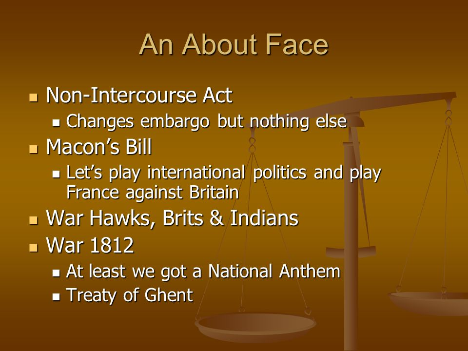 An About Face Non-Intercourse Act Non-Intercourse Act Changes embargo but nothing else Changes embargo but nothing else Macons Bill Macons Bill Lets p