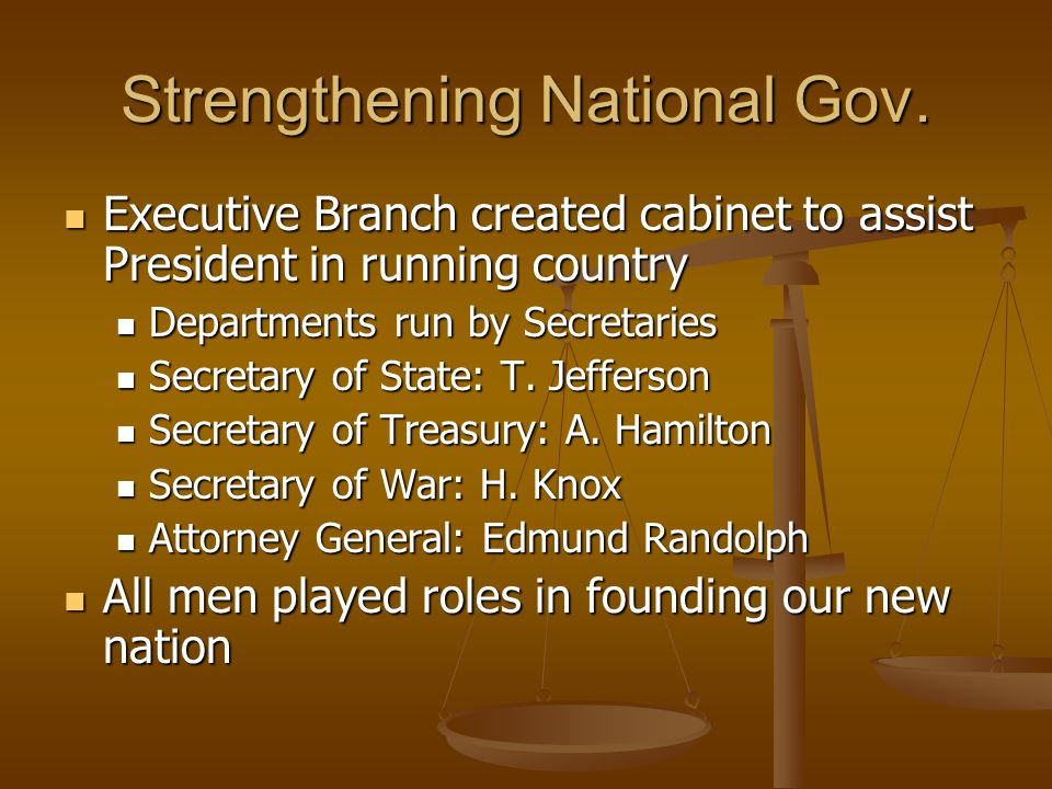 Strengthening National Gov. Executive Branch created cabinet to assist President in running country Executive Branch created cabinet to assist Preside