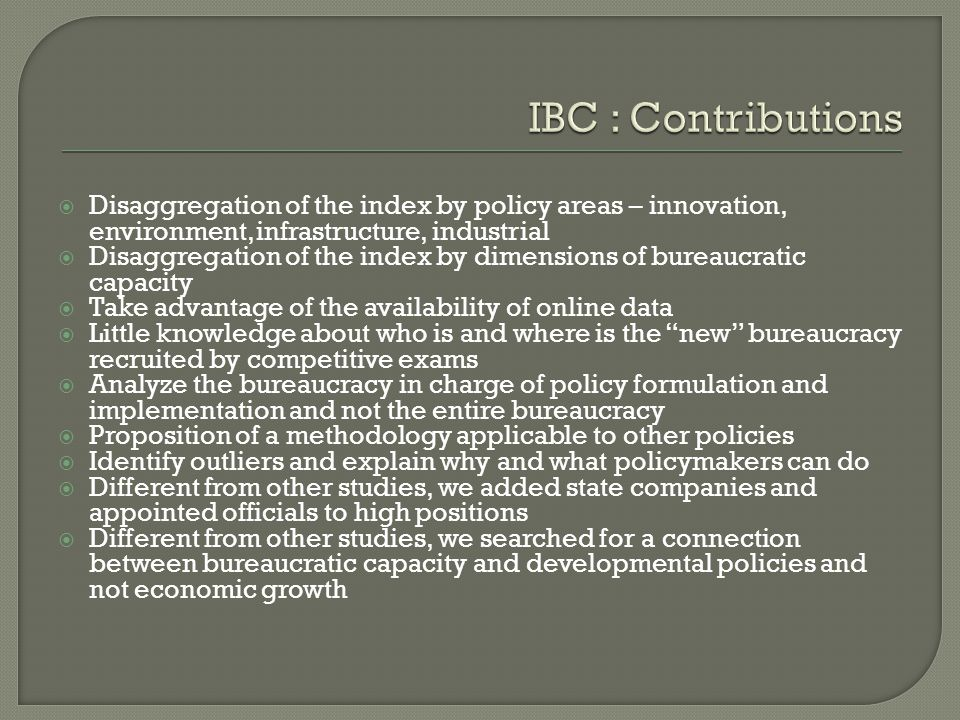 PolicyIBC Industrial0,68 Innovation 0,66 Environment 0,62 Infrastructure0,59