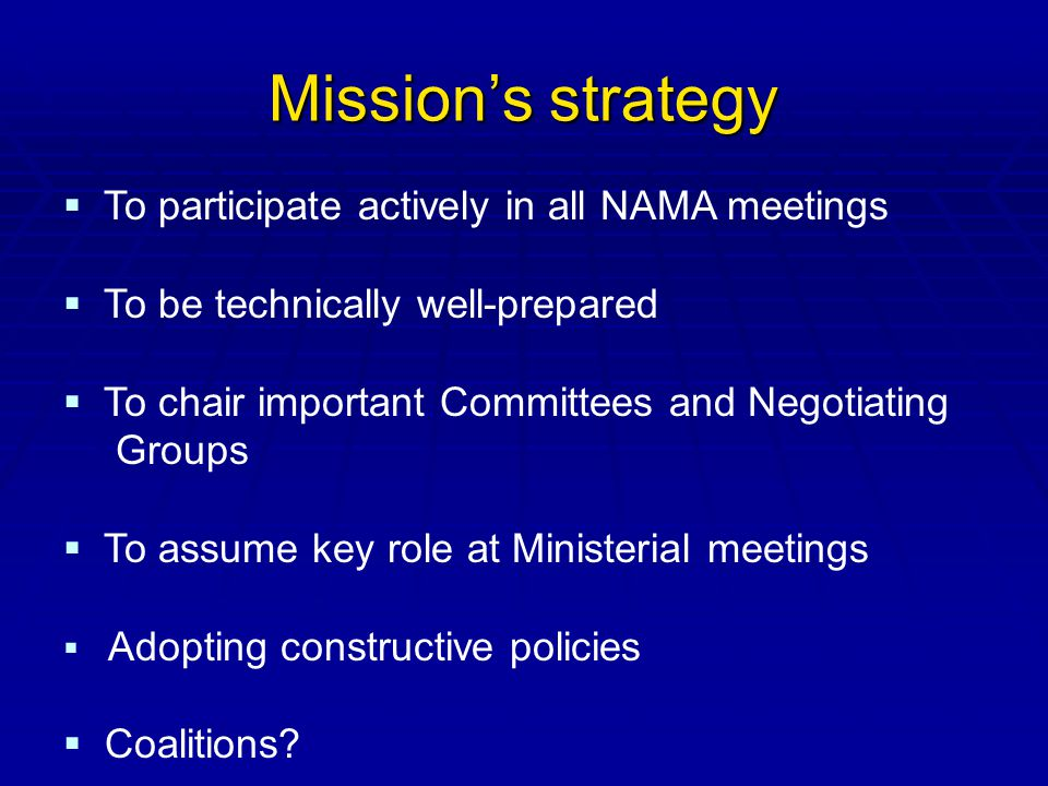 Missions strategy To participate actively in all NAMA meetings To be technically well-prepared To chair important Committees and Negotiating Groups To assume key role at Ministerial meetings Adopting constructive policies Coalitions?