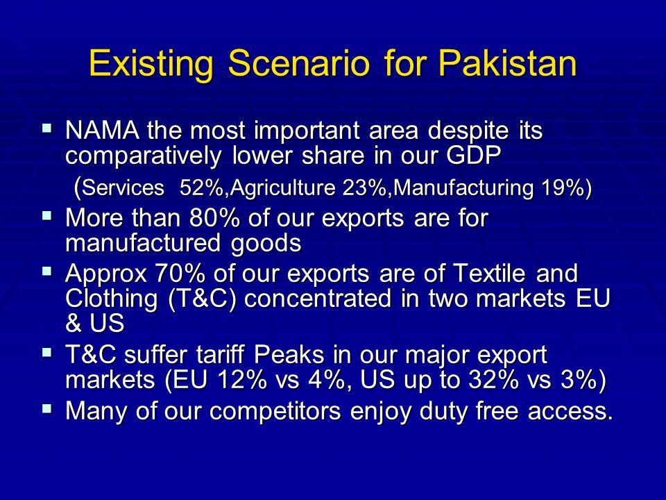 Existing Scenario for Pakistan NAMA the most important area despite its comparatively lower share in our GDP NAMA the most important area despite its comparatively lower share in our GDP ( Services 52%,Agriculture 23%,Manufacturing 19%) More than 80% of our exports are for manufactured goods More than 80% of our exports are for manufactured goods Approx 70% of our exports are of Textile and Clothing (T&C) concentrated in two markets EU & US Approx 70% of our exports are of Textile and Clothing (T&C) concentrated in two markets EU & US T&C suffer tariff Peaks in our major export markets (EU 12% vs 4%, US up to 32% vs 3%) T&C suffer tariff Peaks in our major export markets (EU 12% vs 4%, US up to 32% vs 3%) Many of our competitors enjoy duty free access.